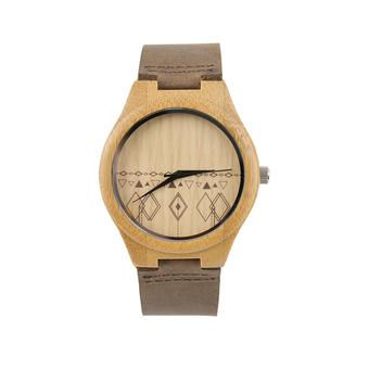 Allwin Vintage watches wooden dial watch Men Women Couple Watch Rhombus Pattern (Intl)