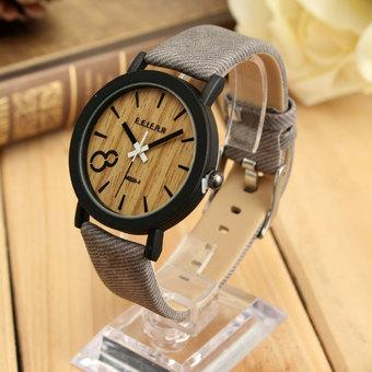 Autoleader Vintage Men Wooden Dial Casual Leather Quartz Wrist watch (Intl)