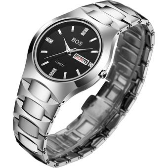 BOS His or Hers Black Waterproof Stainless Steel Quartz Couple Wrist Watch for Men (Nature