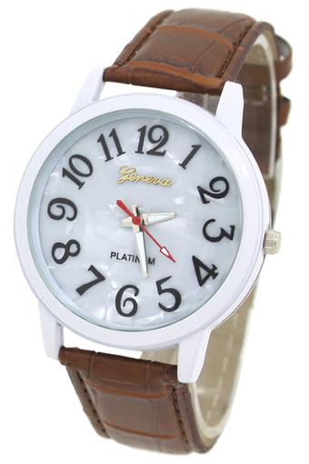 Blue lans Unisex Shell White Dial Faux Leather Brown Band Wrist Watch