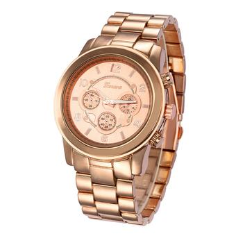 Bluelans Unisex Platinum Stainless Steel Band Wrist Watch Rose-Golden (Intl)