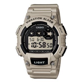 Casio Jam Tangan W735h-8a2 Digital Watch Vibrate Alarm Abu-Abu Muda