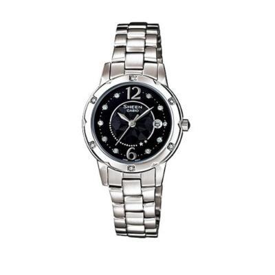 Casio Sheen SHE-4021D-1ADF Jam Tangan Wanita Stainless Steel - Black