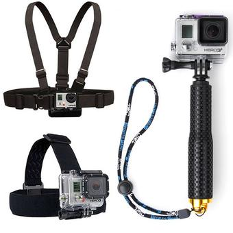 Chest Belt + Head Strap +19cm Extendable Pole HandheldMonopod with Mount Adapter For Gopro Action Camera(Gold) - Intl