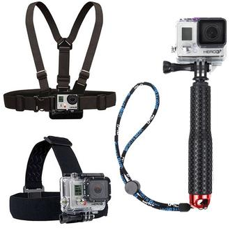 Cityhome Chest Belt + Head Strap +19cm Extendable Pole Handheld Monopod with Mount Adapter For Gopro Action Camera(red) - Intl