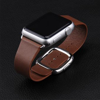 Cross-line Magnetic Genuine Bracelet Leather Strap Band Replacement For Apple Watch Brown 38mm -