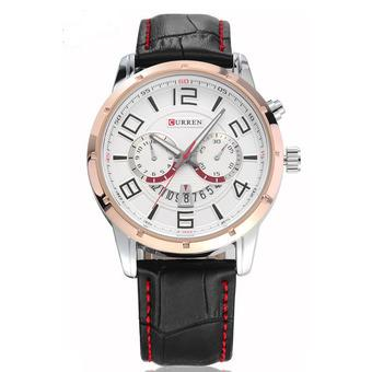 Curren - Jam Tangan Pria - Hitam - Leather Strap - Analog Date SM Watch