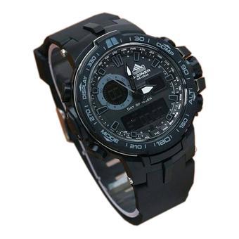 D-ziner Dual Time - Jam Tangan Pria - Strap Rubber - Hitam - DZ8085