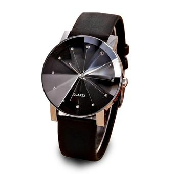 Dial Analog Synthetic Leather Band Strap Wrist Quartz Watch(Black) - Intl