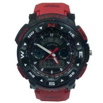 Digitec DG2093T Dual Time Jam Tangan Pria Rubber Strap ( Merah-hitam)