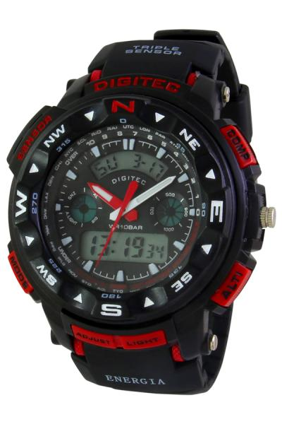 Digitec Digital Watch DG2037T Black Red Jam Tangan Pria - Hitam