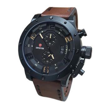 Expedition - Jam Tangan Pria - Coklat Hitam - Strap Kulit - E6381