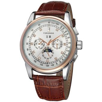 Forsining Men Mechanical Automatic Dress Watch with Gift Box FSG319M3T4 (White) (Intl)