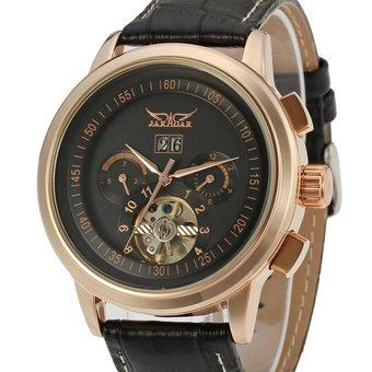Forsining Rose Gold Color Alloy Case Men Automatic Mechanical Watch with Tourbillion Waterproof (Intl)