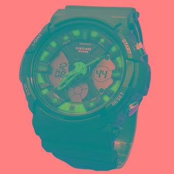 Fortuner Dual Time - Jam Tangan Pria - Rubber Strap - FR 2501 BCB