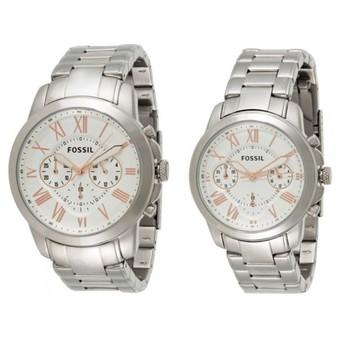 Fossil His Hers White Dial Stainless Steel Band Couple Watch Set