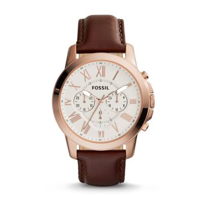 Fossil Watch Jam Tangan Pria FS 4991 Leather Gold
