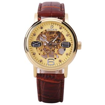 Goer Men's Leather Strap Skeleton Automatic Mechanical Wrist Watch (Brown gold) (Intl)