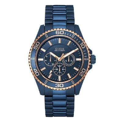Guess W0172G6 Multifunction - Jam Tangan Pria - Stainless Steel - Biru