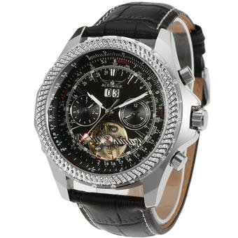 JARGAR Forsining Automatic Dress Watch with Black Leather Strap Gift Box JAG070M3S2 (White) (Intl)