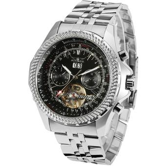 Jargar Automatic Dress Watch with Black Leather Strap Gift Box JAG070M4S2 (Black) (Intl)
