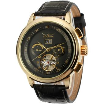 Jargar Automatic Dress Watch with Black Leather Strap Gift Box JAG16557M3G1 (Black) (Intl)