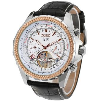 Jargar Automatic Dress Watch with Black Leather Strap Gift Box JAG070M3T2 (White) (Intl)