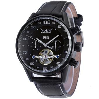 Jargar Automatic Men Dress Watch with Black Leather Strap Gift Box JAG16556M3B2 (Black) (Intl)