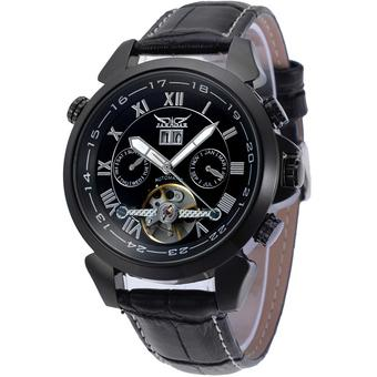 Jargar Forsining Automatic Dress Watch with Black Leather Strap Gift Box JAG057M3B2 (Black) - Intl
