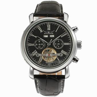 Jargar Men Mechanical Dress Watch Tourbillon Automatic Wristwatch Black Leather Strap Gift Box JAG540M3S1 (Black) (Intl)