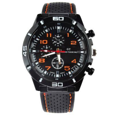 KamVio Grand Touring Men's Japan Movement Quartz Arabic Numbers Design Stitching Silicone Band Faux Chronograph Wrist Watch - Orange