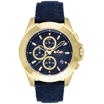 Lee Cooper LC-41G-E - Jam Tangan Pria - Leather strap - Biru