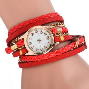 Maryswill Braided Rope Bracelet Watch(Red)