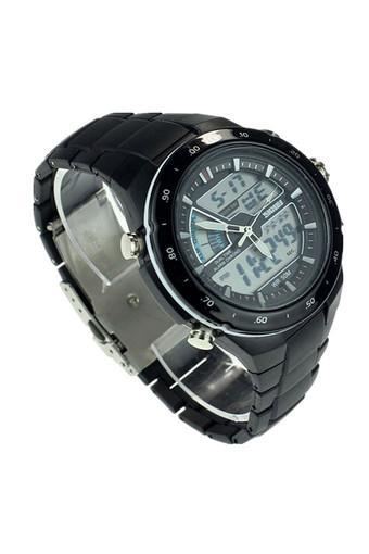 Multi Function Men Dual Display Waterproof LED Sports Watch Alarm White Jam Tangan