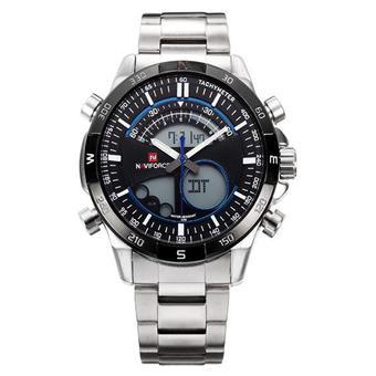 ... Naviforce NF0311 Dual Time Jam Tangan Pria Stainless Steel Silver