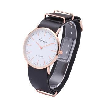 New Style Fashion Geneva Rose Gold Leather Belt Quartz Watches(Black)
