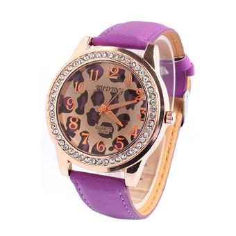 New Women Dial Rhinestone Leather Band Leopard Quartz Analog Wrist Watch (Purple)