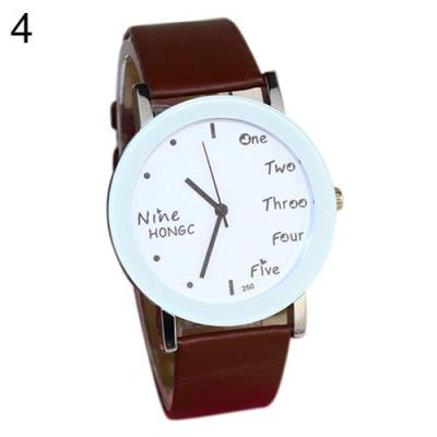 Norate Boy's English Words Faux Leather Band Wrist Watch Coffee