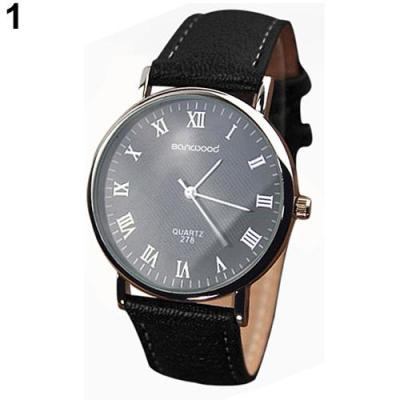 Norate Jam Tangan Pria - Roman Numerals Faux Leather Band Black