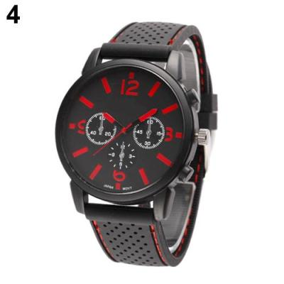 Norate Jam Tangan Pria - Silicone Band Stainless Steel Sports Wrist Watch  Red ea562a2e27