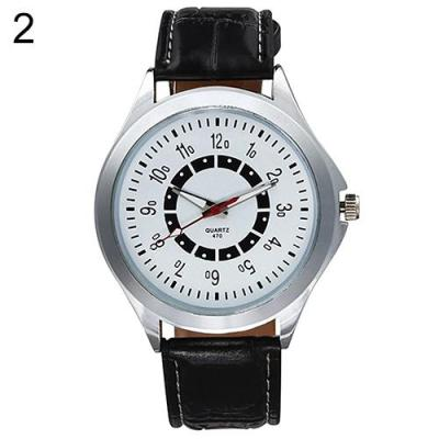 Norate Men's Business Faux Leather Band Analog Quartz Wrist Watch Silver