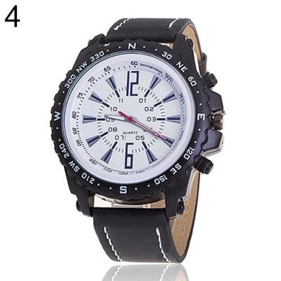 Norate Men's Faux Leather Strap Business Wrist Watch Black Band & White Dial