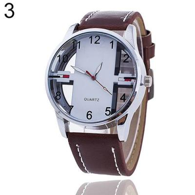 Norate Men's Hollow Dial Faux Leather Strap Wrist Watch Dark Brown Band & White Dial