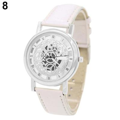 Norate Unisex Roman Numerals Skeleton Analog Wrist Watch White Strap & Silver Dial
