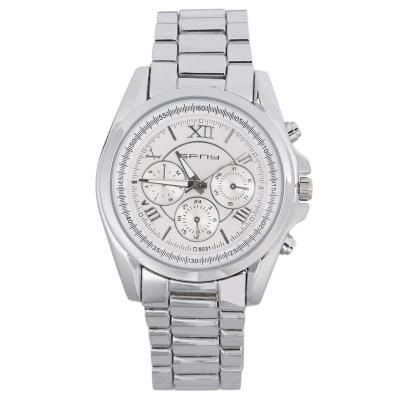 OBN Women Men Round Dial Stainless Steel Band Quartz Wrist Watch Chronograph-Silver