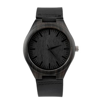 OH Vintage Ebony wooden watch wood dial quartz watches Men Women Couple Watch Black (Intl