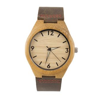 OH Vintage wooden dial watch quartz watches Men Women Couple Watch Brown Band Brown (Intl