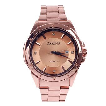 ORKINA W001 Fashionable Men's Quartz Wrist Watch w/ Simple Calendar - Rose Golden (1 x LR626)