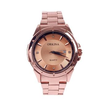 ORKINA W001 Fashionable Men's Quartz Wrist Watch w/ Simple Calendar - Rose Golden