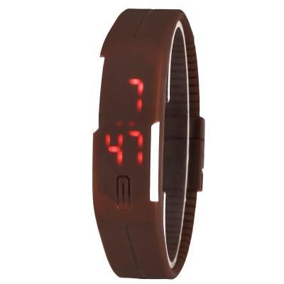 Ormano - Jam Tangan LED Sport Minimalis - Coklat - Karet